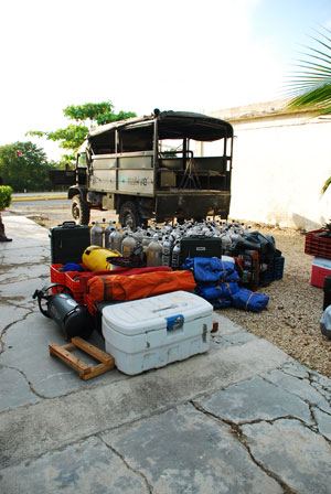 Research supplies for exploring the Quintana Roo aquifer.